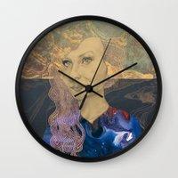 tina Wall Clocks featuring Tina by Nina Schulze Illustration