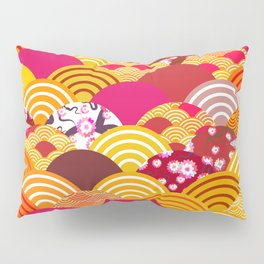 pattern scales simple Nature background with japanese sakura flower, rosy pink Cherry, wave Pillow Sham