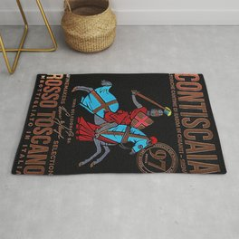 Vintage Toscana Rosso Wine Bottle Label Print Rug