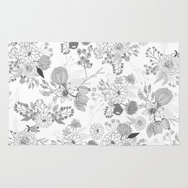 Modern elegant black white rustic floral illustration Rug