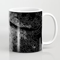 portland Mugs featuring portland map by Line Line Lines