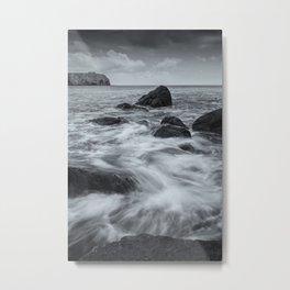 Waves and Rocks Metal Print
