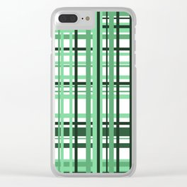 Green white checkered Graphic Design Clear iPhone Case