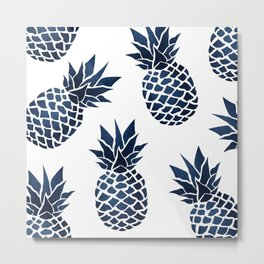 Pineapple Blue Denim Metal Print