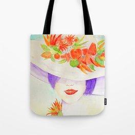 Watercolor Chilli Girl Fashion, Chilli Hat Tote Bag