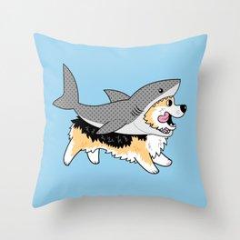 Another Corgi in a Shark Suit Throw Pillow