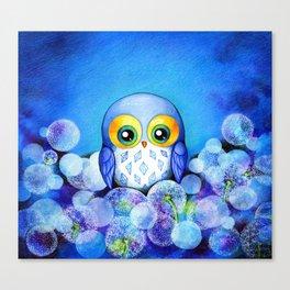 Lunar Owl in Dandelion Field Canvas Print