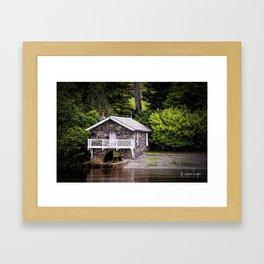 Boatshed On The Lake Framed Art Print