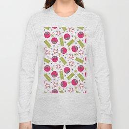 Modern pink green beach summer pattern typography Long Sleeve T-shirt
