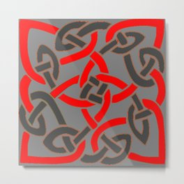 Red Pattern Charcoal Grey Color Celtic Art Metal Print