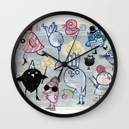 Swedish XMAS birds Wall Clock