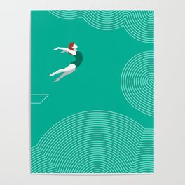 diver girl jumping into the clouds Poster