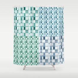 Sea-Cuadricula Shower Curtain