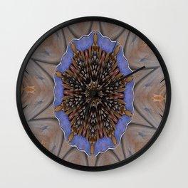 Blue Brown Kaleidoscope Retro Groovy Image Wall Clock
