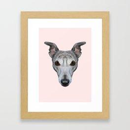 Whippet // Pastel Pink Framed Art Print