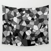 gray pattern Wall Tapestries featuring Gray Monochrome Mosaic Pattern by Margit Brack