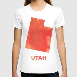 Utah map outline Tomato stained watercolor texture T-shirt