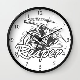 Hand Inked Grim Reaper Illustration Wall Clock