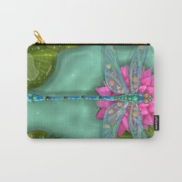 Dragonfly and Water Lily Carry-All Pouch