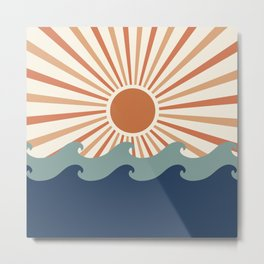 Retro, Sun and Wave Art, Blue and Orange Metal Print