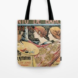 Vintage Art Nouveau expo Barcelona 1896 Tote Bag