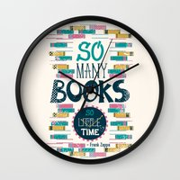 risa rodil Wall Clocks featuring So Many Books, So Little Time by Risa Rodil