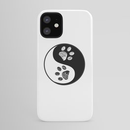 Ying yang made of paw print black white background iPhone Case