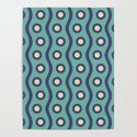 Mid Century Modern Rising Bubbles Pattern Turquoise and Blue by tonymagner