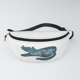 Watercolor galaxy cat – turquoise Fanny Pack
