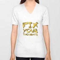 "pocketfuel V-neck T-shirts featuring Phil 4:8 ""Fix your thoughts..."" by Pocket Fuel"