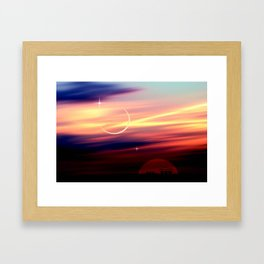 Sonne, Mond, Merkur, Venus in Konstellation. Framed Art Print