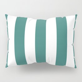Myrtle green - solid color - white vertical lines pattern Pillow Sham