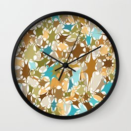 Abstract Starburst Mosaic // Turquoise, Caribbean Blue, Green, Brown // Digital Paint Splotches Wall Clock