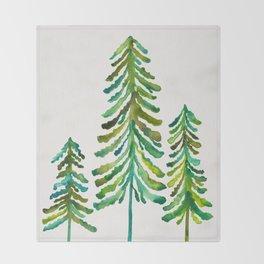 Pine Trees – Green Palette Throw Blanket