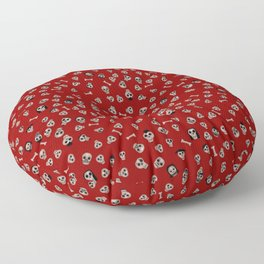 Skull Town (on Hell-Fire Red Background) Floor Pillow