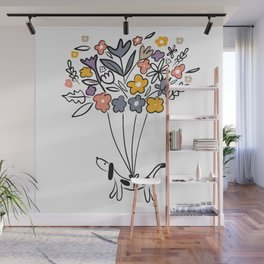 Spring time Sausage Dog Wall Mural