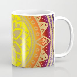 'Infinite Light' Mandala Gold Blue Purple Red Orange Yellow Coffee Mug