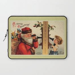 Vintage Santa with child and old telephone Laptop Sleeve