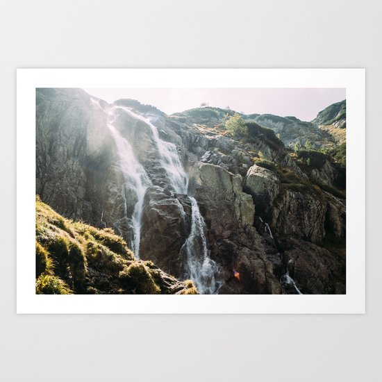 Waterfall In Sunlight Art Print