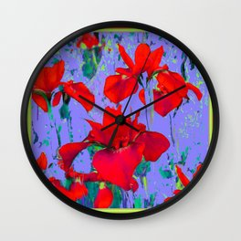 Red Iris In Lilac Colored Modern Abstract Pattern Wall Clock