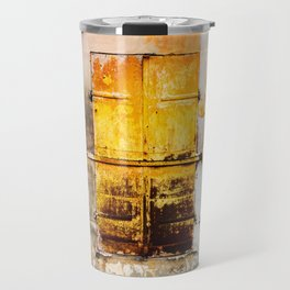 Old Metal Yellow Door on Scratched Wall Travel Mug