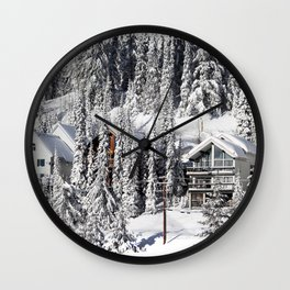 Winter Retreat - Mountain Resort Wall Clock