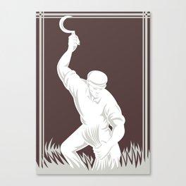 farmer harvesting wheat with scythe retro Canvas Print