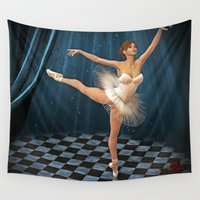 ballerina Wall Tapestries featuring ballerina by Ancello