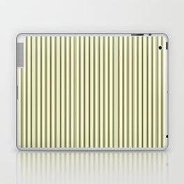Mattress Ticking Narrow Striped Pattern in Dark Black and Cream Laptop & iPad Skin