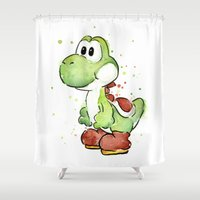 mario Shower Curtains featuring Yoshi Watercolor Mario by Olechka
