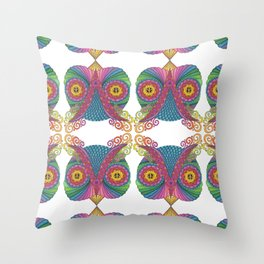 Owl Head with Peace Signs Throw Pillow