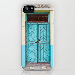 Havana Cuba Old Iron Door Colorful Latin America Caribbean Island Travel Art Print Turquoise iPhone Case