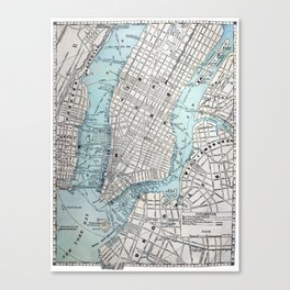 Vintage Map of New York Canvas Print