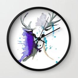 Christmas Watercolor Reindeer Wall Clock